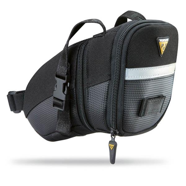 Sacoche de selle Topeak Aero Wedge Pack - Medium 1,31 L (sangles) Noir/Réfléchissant