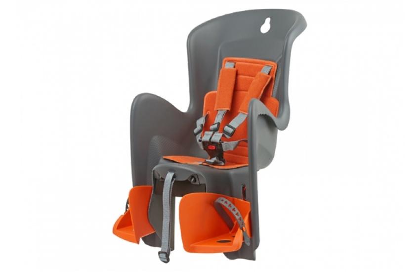 Porte-bébé arrière Polisport Bilby Maxi CFS sur porte-bagages Gris/Orange