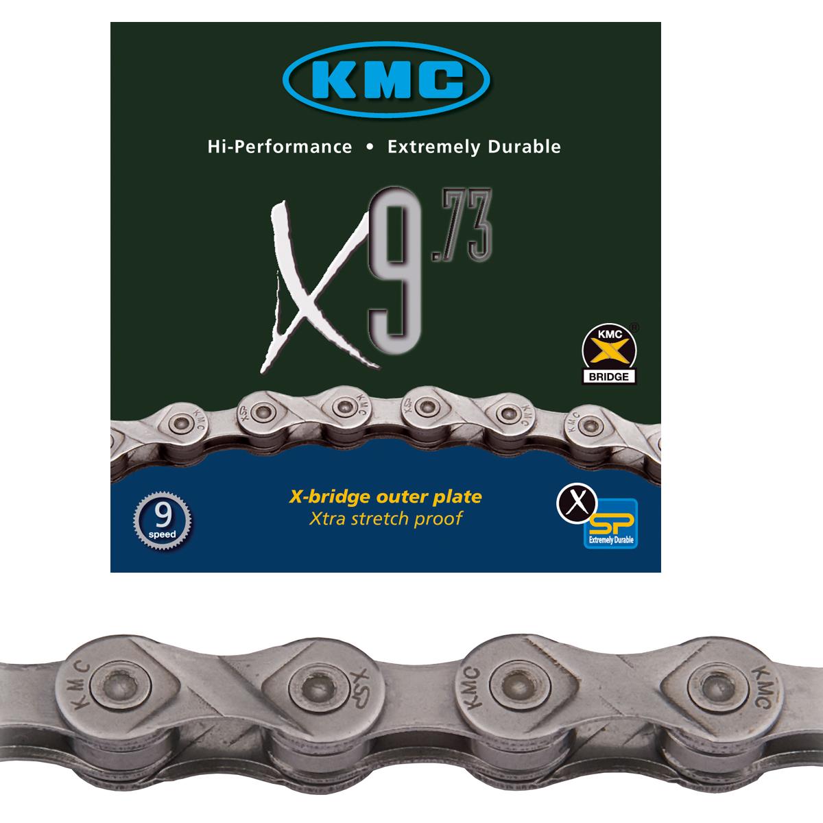 Chaine vélo KMC 9 vitesses X9.73 argent 116 maillons