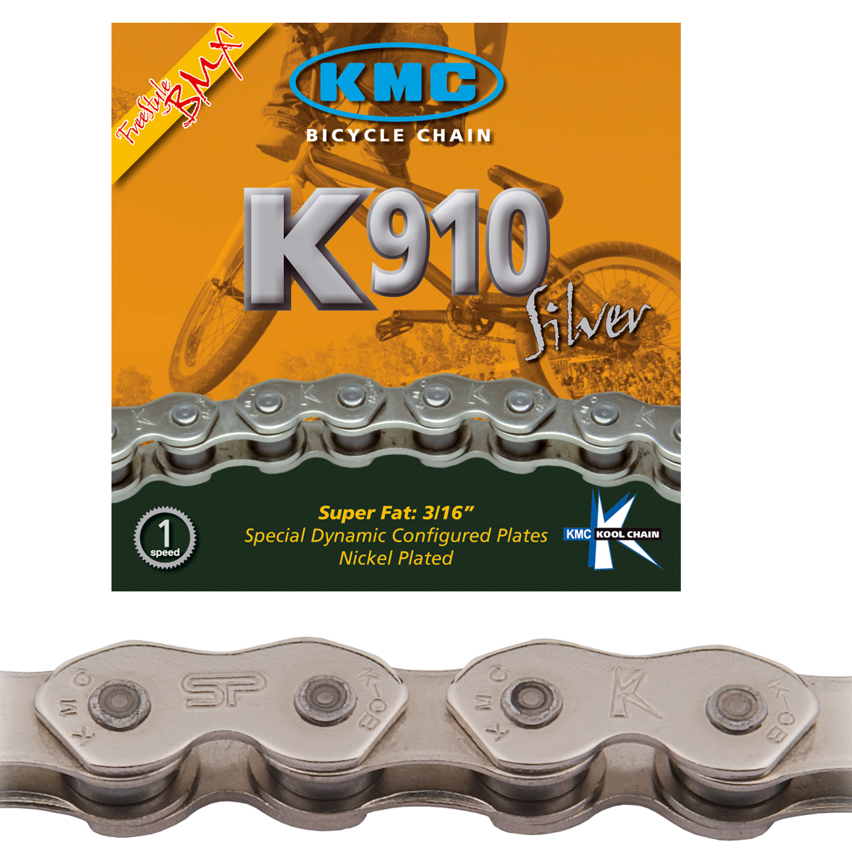 Chaîne KMC BMX K910 Silver Kool Series