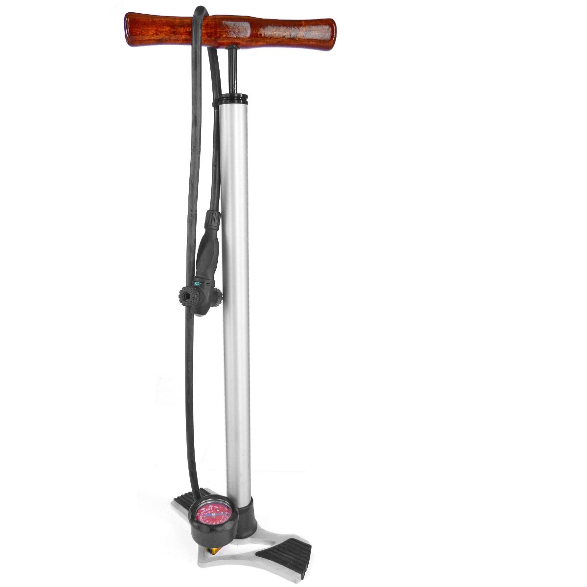 Pompe à pied Giyo manomètre corps et base alu (poignée bois)