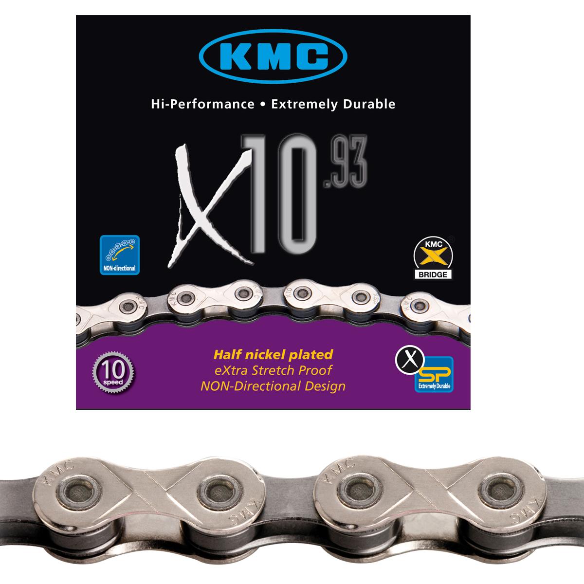 Chaîne vélo KMC 10 vitesses X10.93 argent 114 maillons