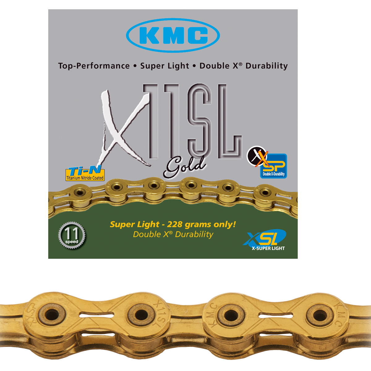 Chaîne vélo KMC 11 vitesses X11SL-TiN or super léger 112 maillons