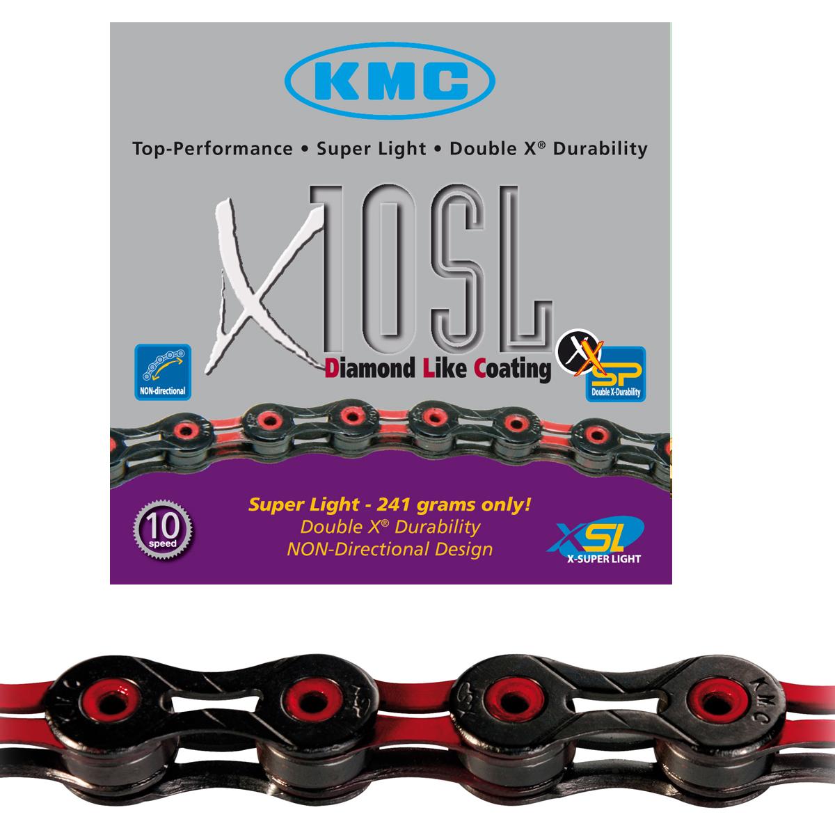Chaîne vélo KMC 10 vitesses X10SL DLC noir/rouge 112 maillons
