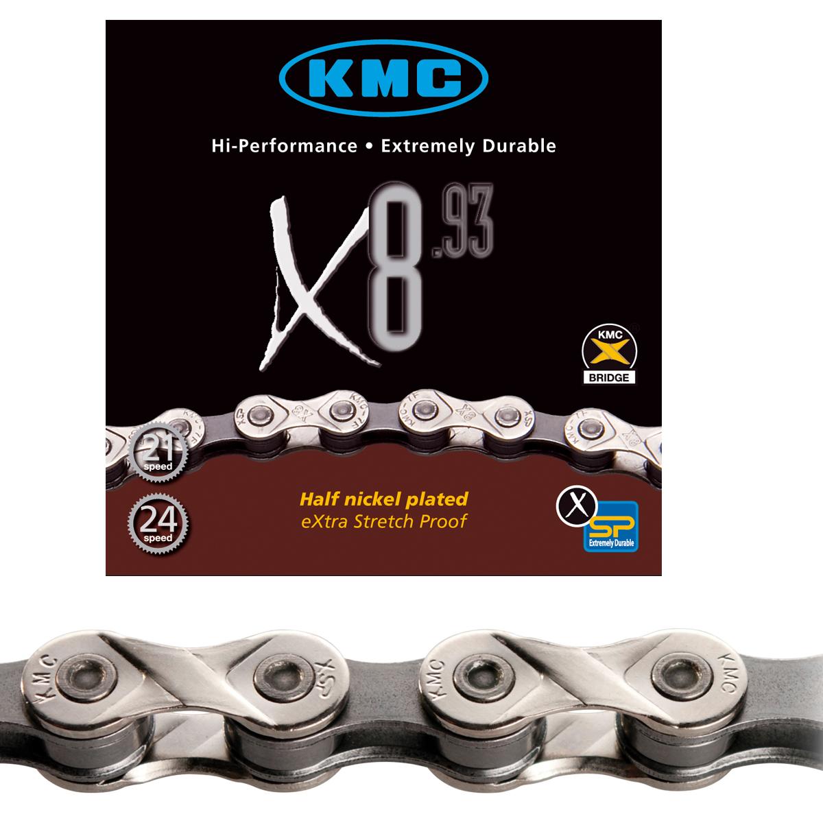 Chaîne vélo KMC 6/7/8 vitesses X8.93 argent 116 maillons