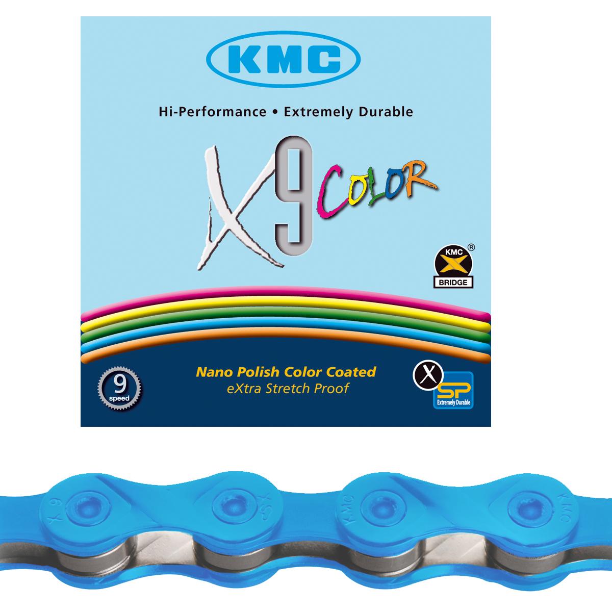 Chaîne vélo KMC 9 vitesses X9 Color bleu 116 maillons
