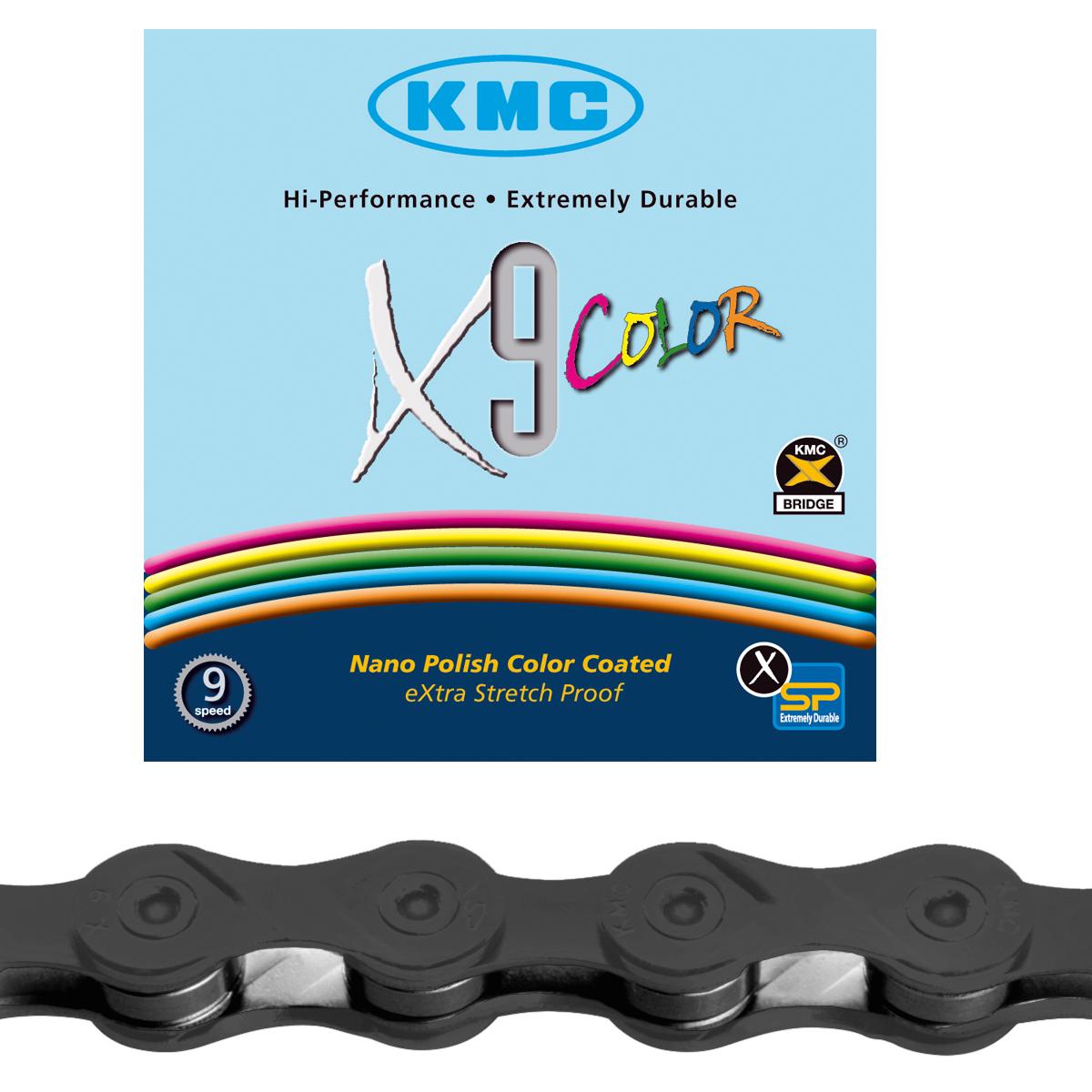 Chaîne vélo KMC 9 vitesses X9 116M Noir