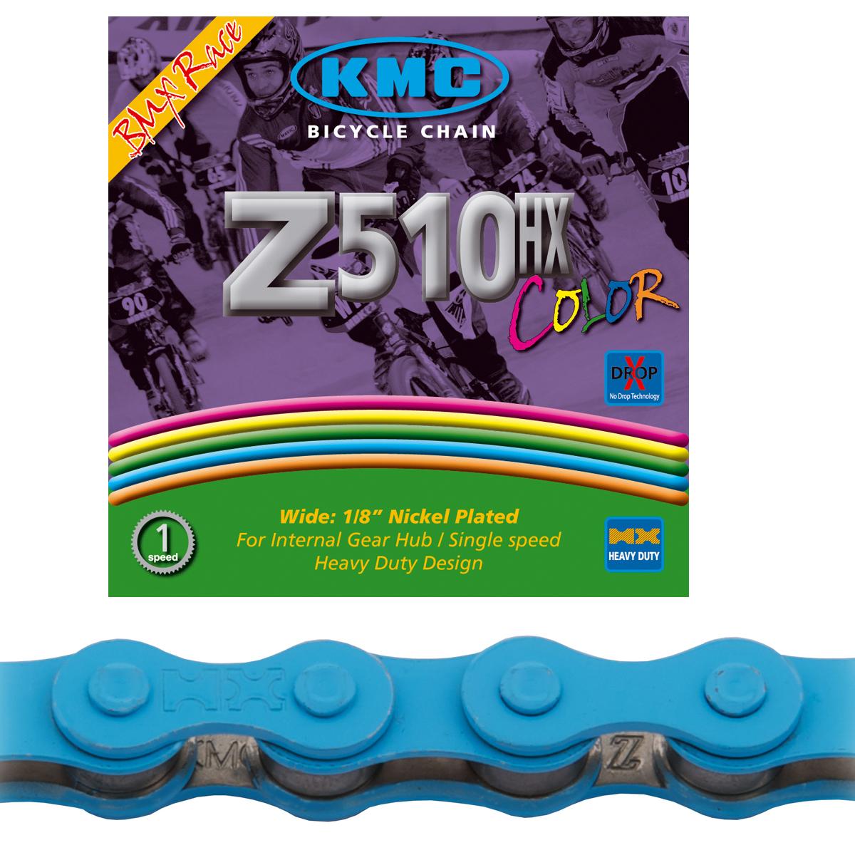 Chaîne BMX KMC Z510HX Black Nano bleu 112 maillons