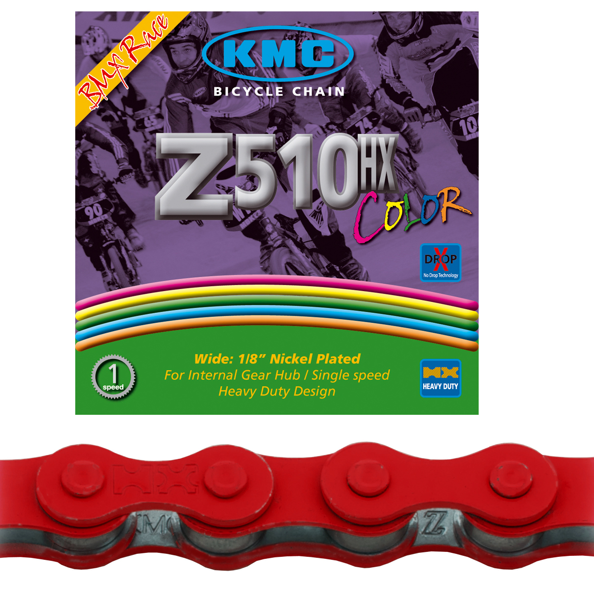 Chaine BMX KMC Z510HX Black Nano rouge 112 maillons