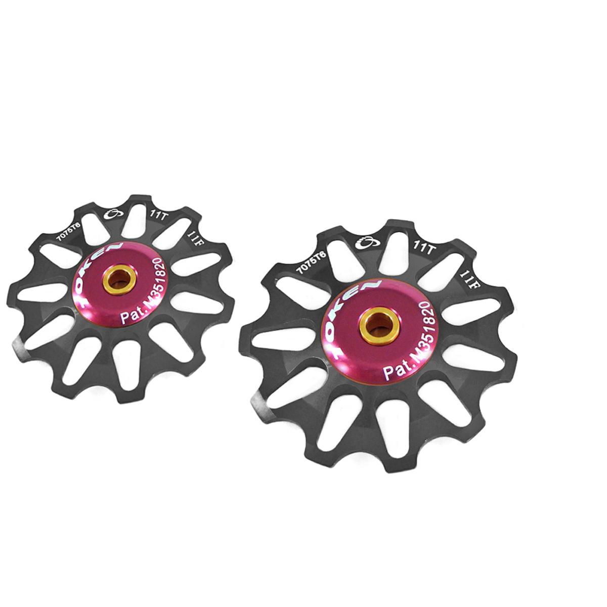 Galets de dérailleur Token 11 dents compatible Shimano/Campagnolo/SRAM XO noir (la paire)