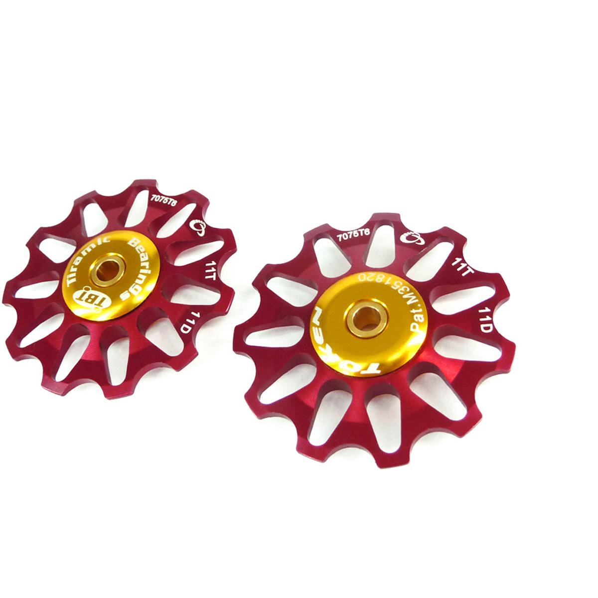 Galets de dérailleur Token 11 dents comp. Shimano/Campagnolo/SRAM X0 roulements céramique Rouge