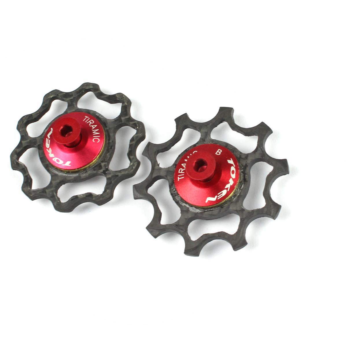 Galets de dérailleur Token 10 dents carbone comp. Campagnolo roulements céramique Noir/Rouge