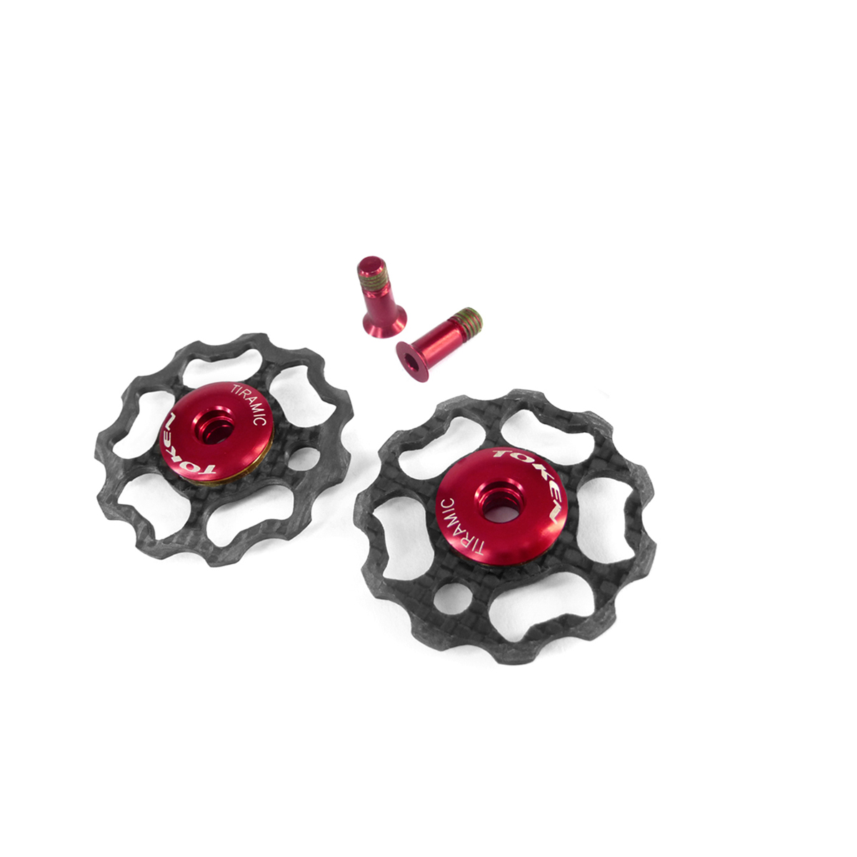 Galets de dérailleur Token 11 dents carbone comp. Shimano roulements céramique Noir/Rouge