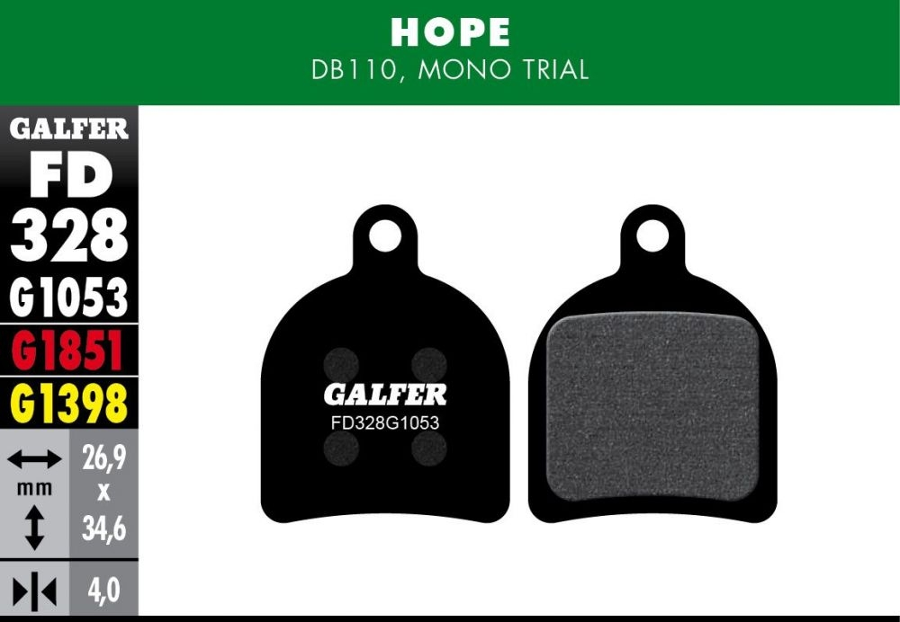 Plaquettes de frein Galfer Hope Mono Trial Semi-métallique Standard Noir