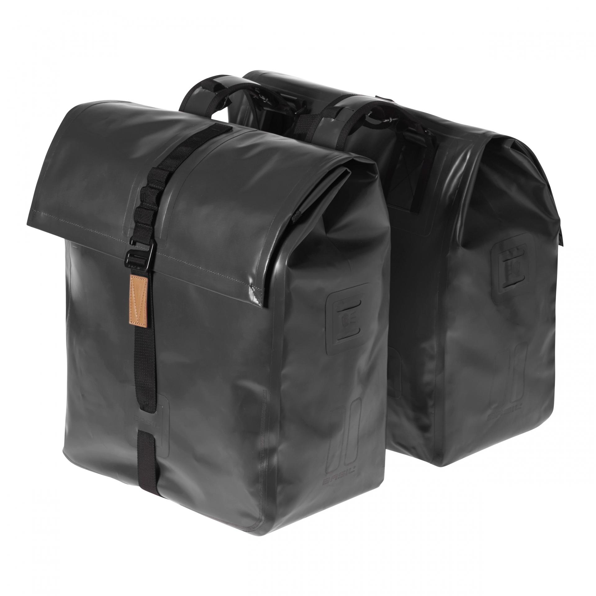 Sacoche arrière double BASIL Urban Dry 100 % Étanche 48 L Noir