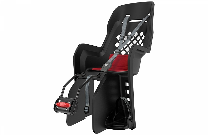 Porte-bébé arrière Polisport Joy FF sur cadre Noir/Rouge