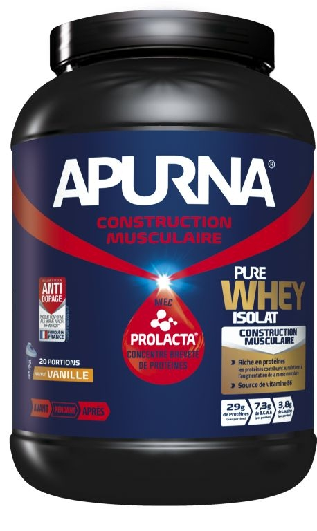 Poudre hyperprotéinée Apurna Pure Whey Isolat Vanille Pot 750 g