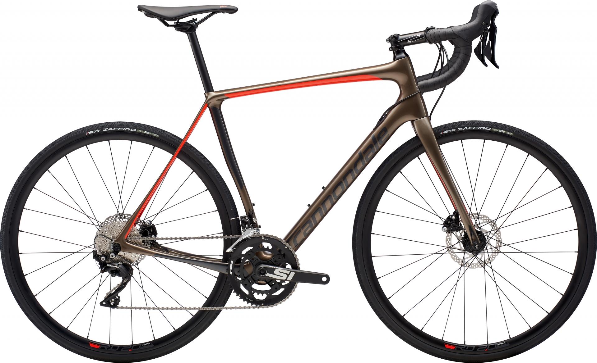 Vélo route Cannondale Synapse Carbon Disc 105 Gris Meteor/Rouge Acid - 54 cm