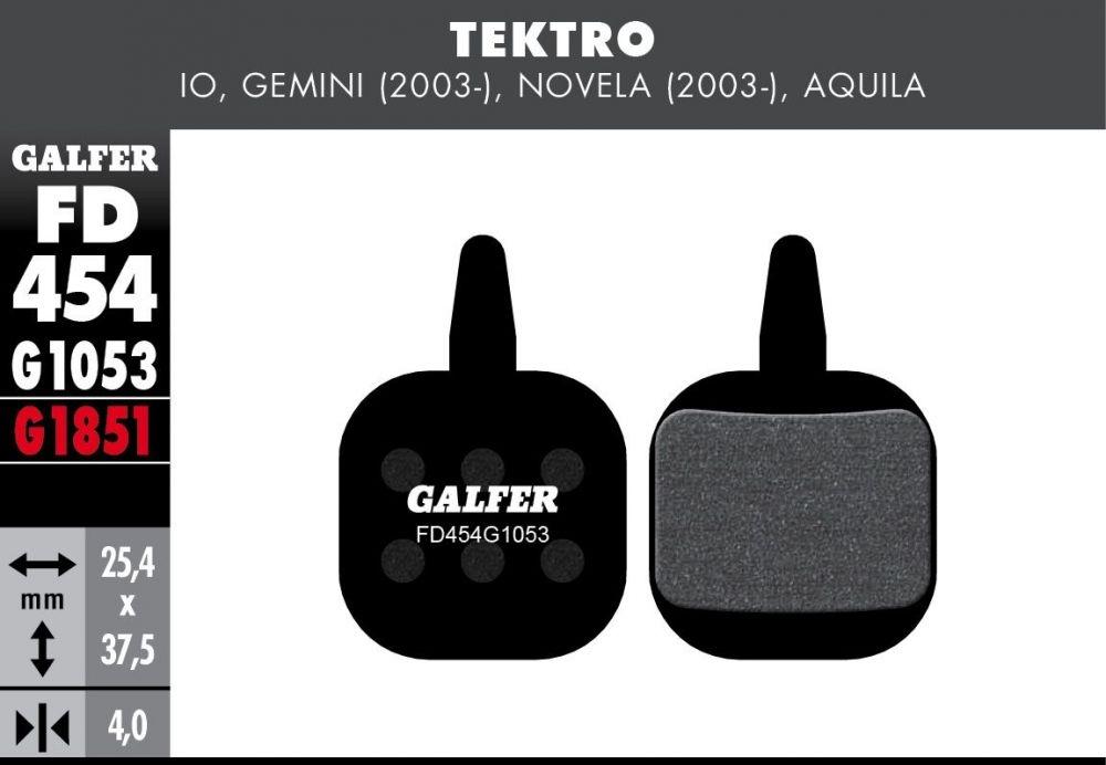 Plaquettes de frein Galfer Tektro IO Novela Semi-métallique Standard Noir