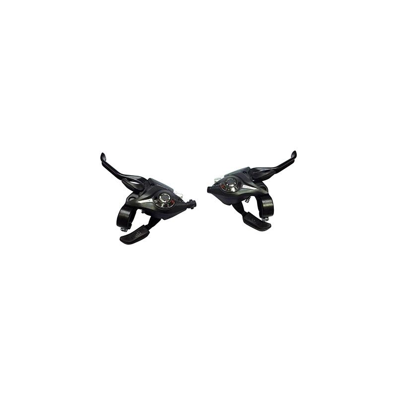 Levier manette Saiguan 3x6V comp. Shimano Alu pour frein V-Brake (Paire) Noir