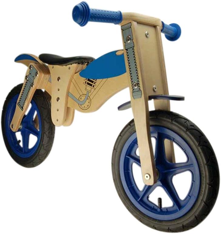 Draisienne en bois 12 Moto Marron/Bleu