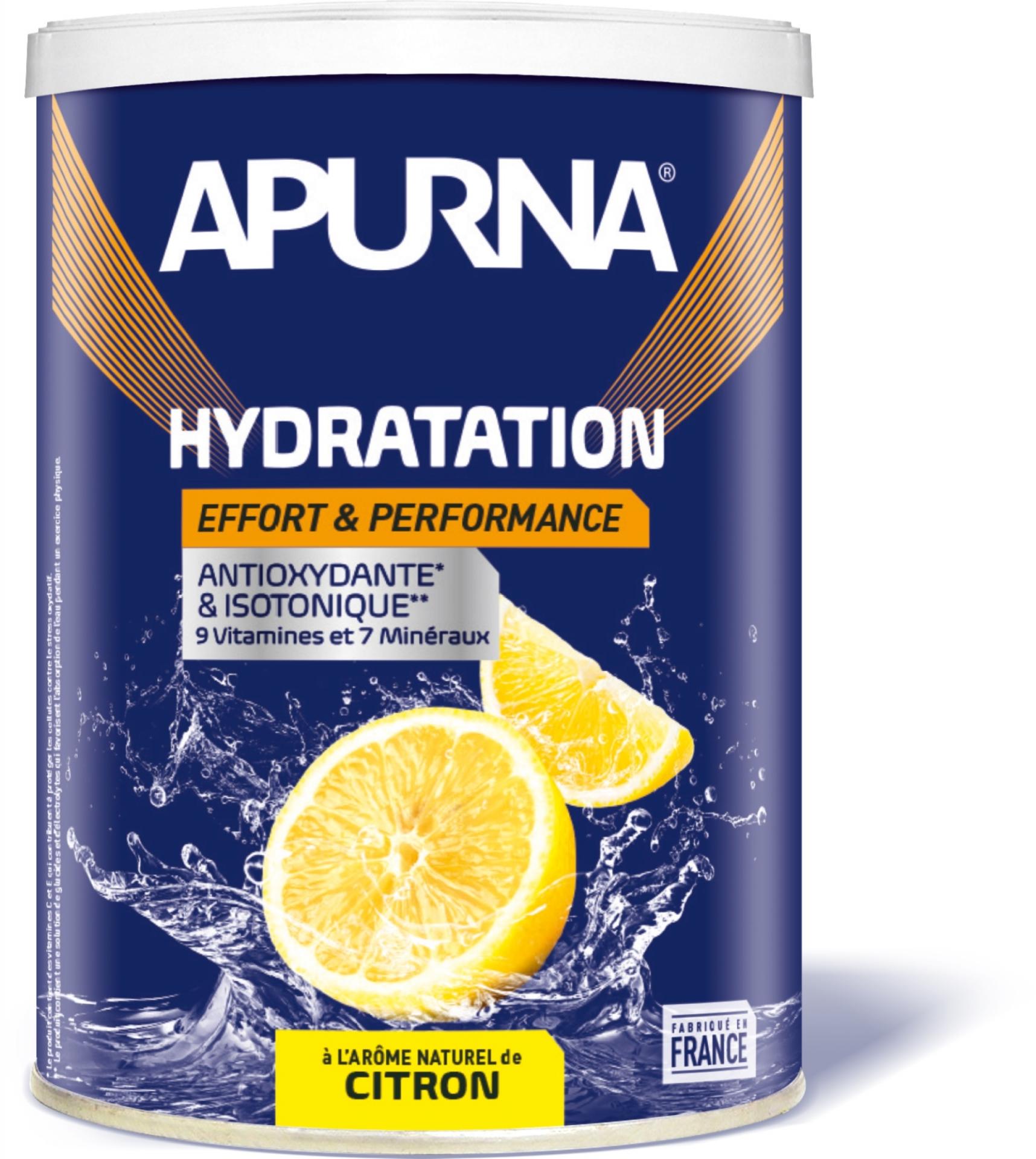 Boisson hydratation Apurna énergie Citron 500 g + 1 bidon