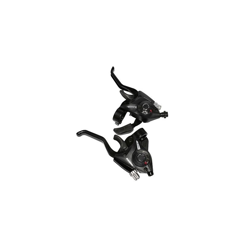 Levier manette Saiguan 3x7V comp. Shimano Alu pour frein V-Brake (Paire) Noir