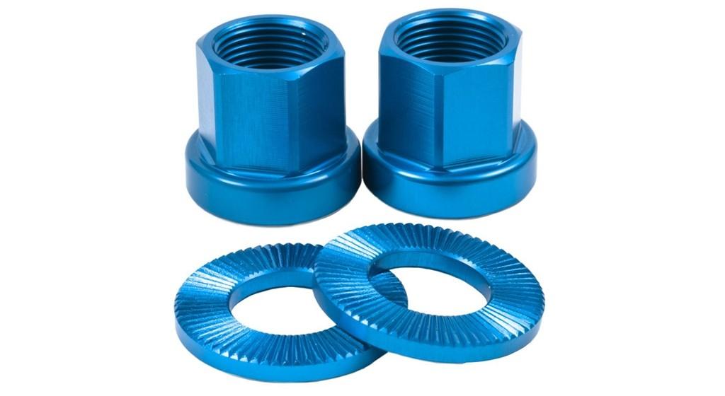 Paire décrous de roue 10 mm bleu