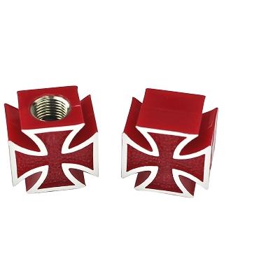 Bouchon de valve WTP Schrader Croix Rouge (Paire)