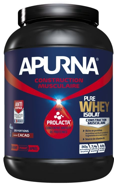 Poudre hyperprotéinée Apurna Pure Whey Isolat Cacao Pot 750 g