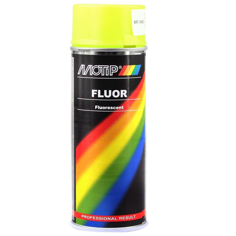 Bombe de peinture jaune fluorescente MoTip 400 ml