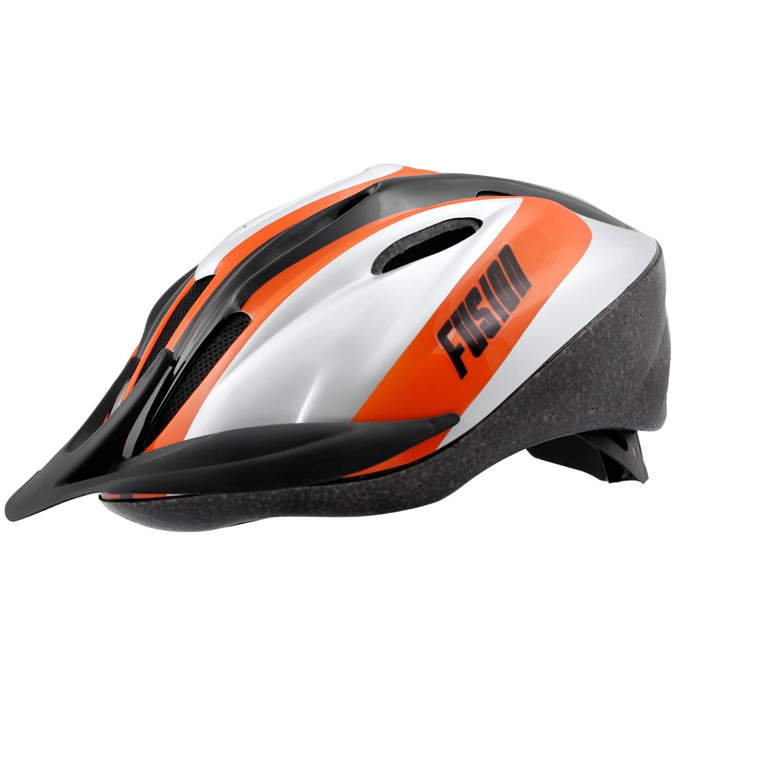 Casque vélo Fusion Adulte VTT Argent/Orange/Noir - 54/58
