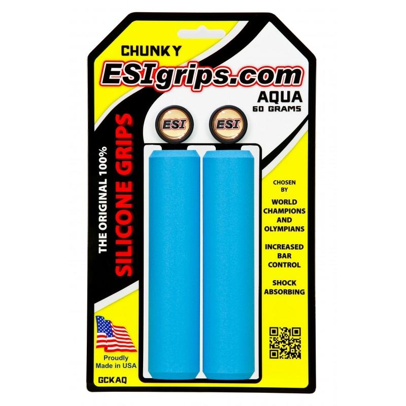 Poignées ESI Grips Chunky silicone 32 mm Bleu Aqua