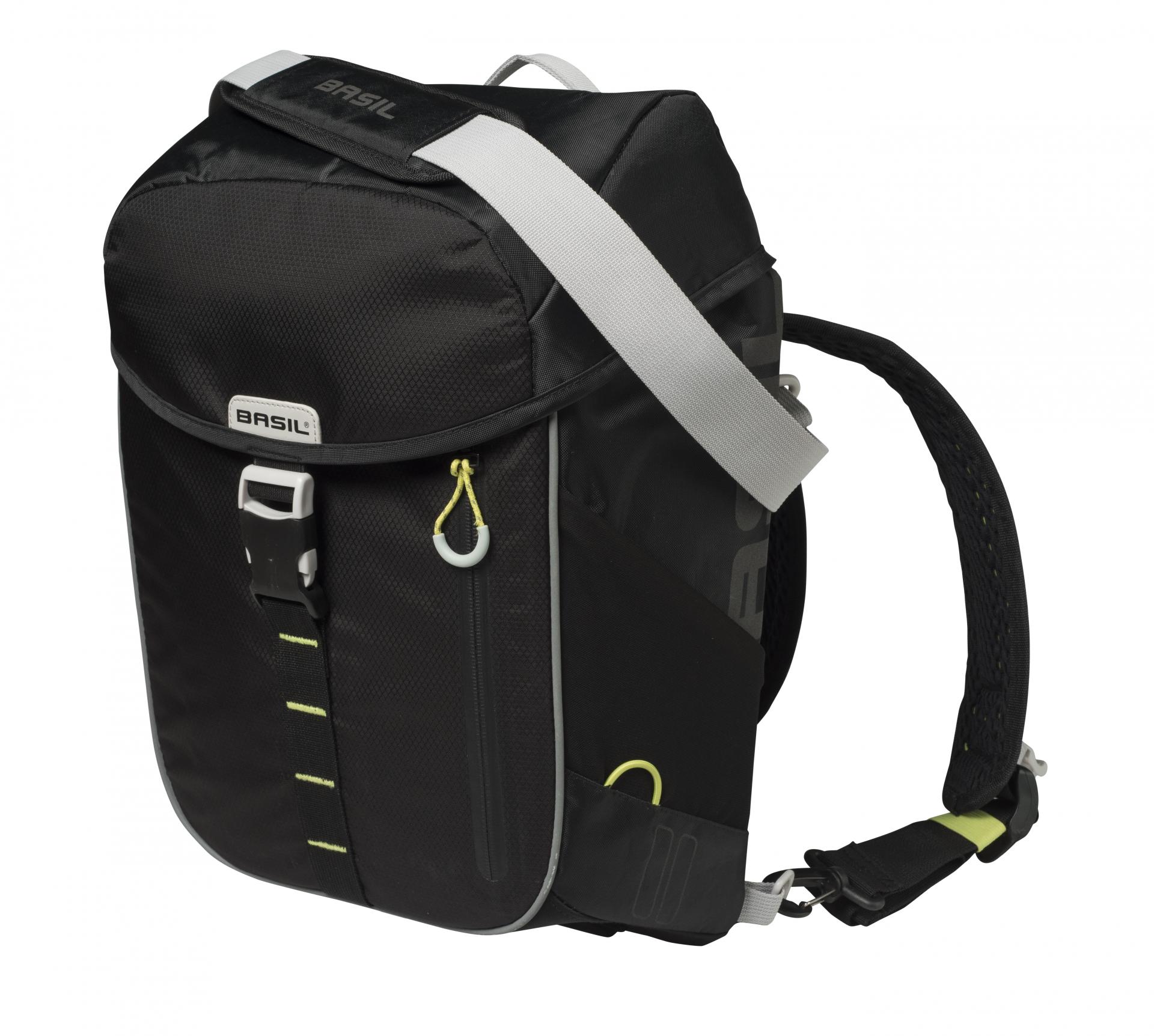 Sacoche arrière latérale BASIL Miles Daypack Étanche 14 L Noir/Liseret Jaune Fluo