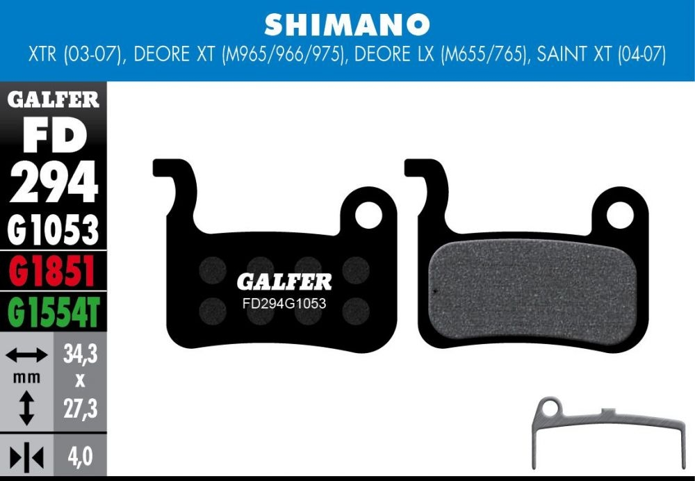 Plaquettes de frein Galfer Shimano XT/LX/Saint/XTR/Giant Semi-métallique Pro Vert