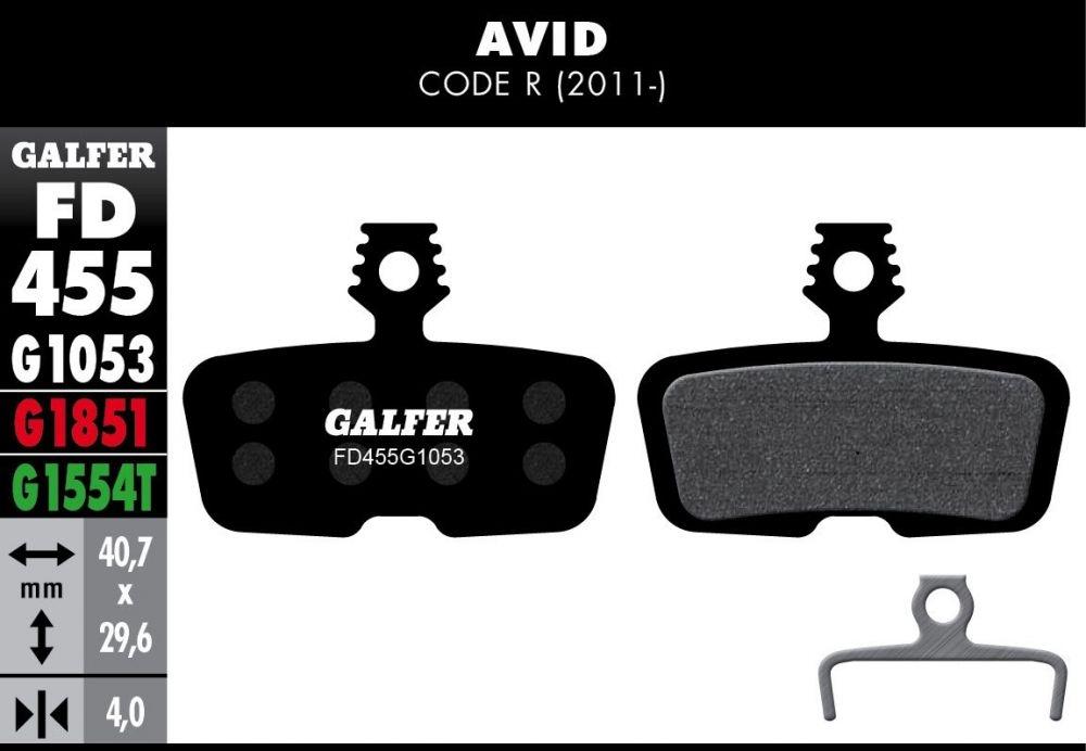 Plaquettes de frein Galfer Avid Code R 2011 Semi-métallique Standard Noir