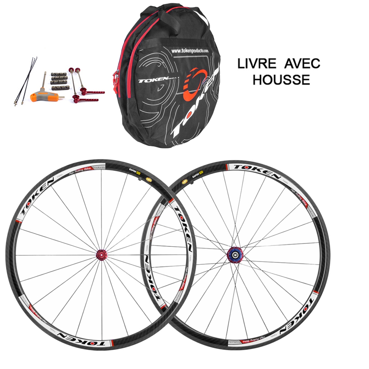 Roues Token route carbone Campagnolo boyau 1035 Grs
