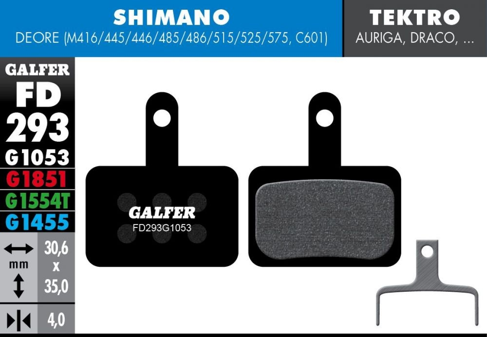 Plaquettes de frein Galfer Shimano Deore Semi-métallique Advanced Rouge