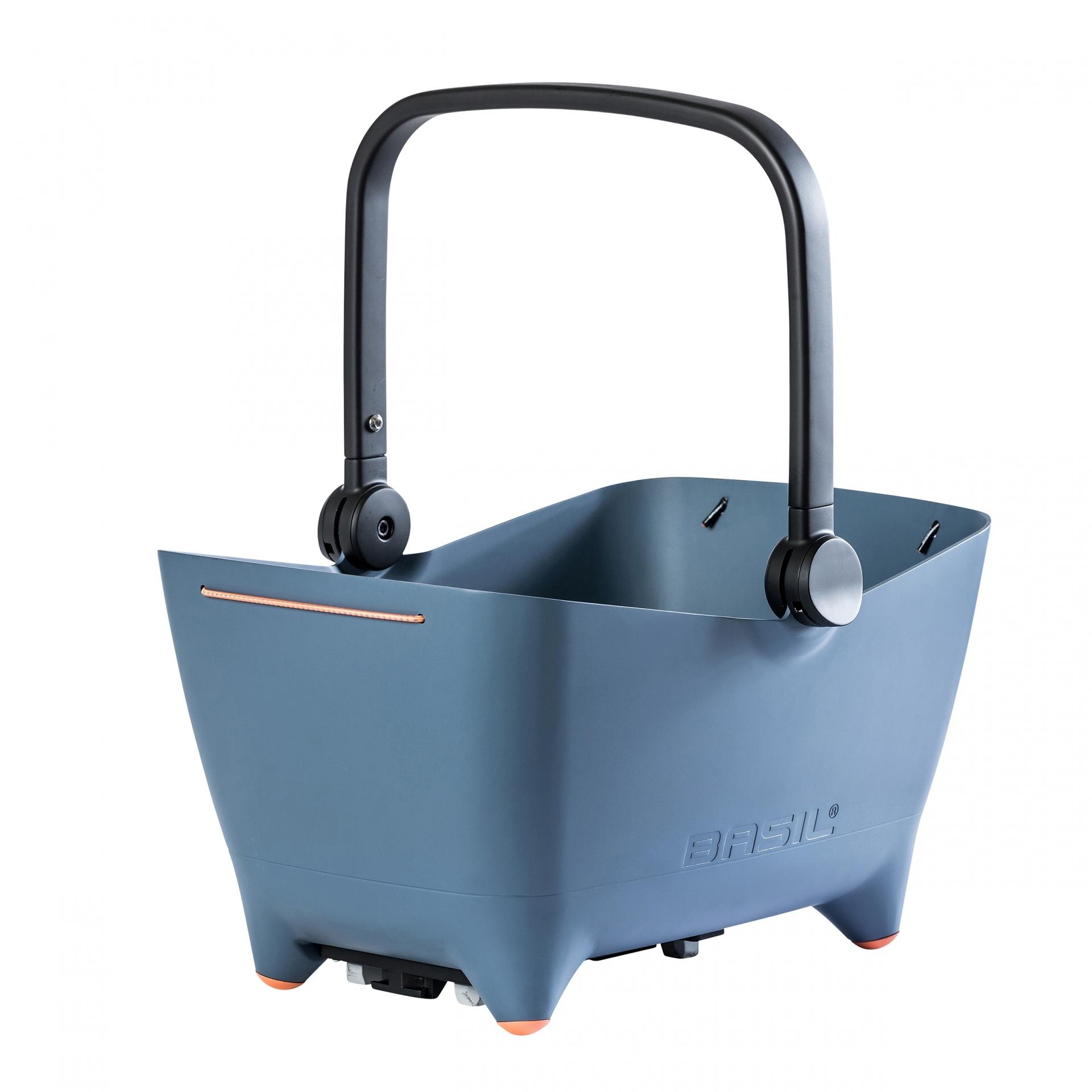 Panier AR plastique BASIL Buddy pour chien Fix. porte-bagages + grille Bleu Denim