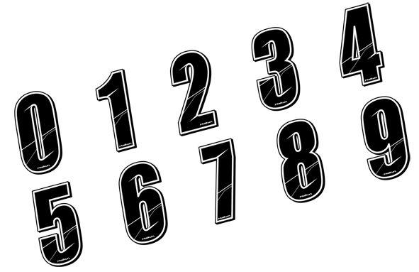 Sticker Maikun Numéro de plaque Noir 8 cm Numéro 0
