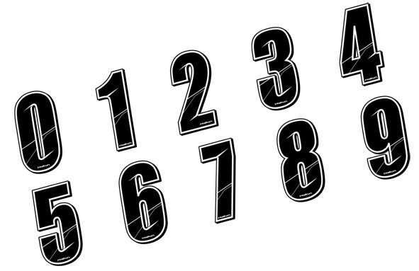 Sticker Maikun Numéro de plaque Noir 8 cm Numéro 3