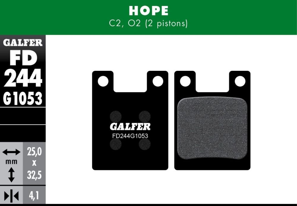 Plaquettes de frein Galfer Hope C2/O2 Semi-métallique Standard Noir