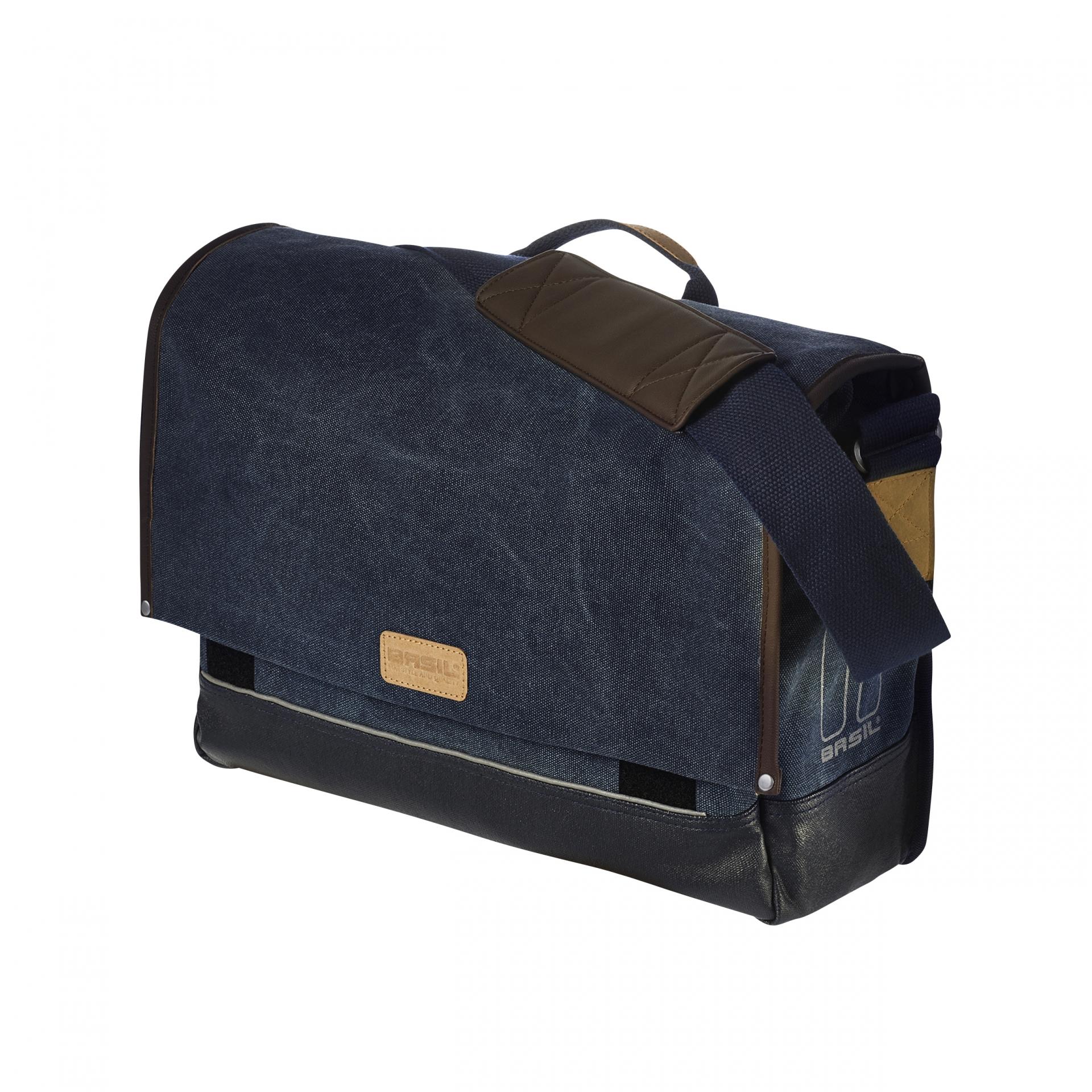 Sacoche arrière latérale BASIL Urban Fold Messenger Spécial VAE Avec protège-pluie 16-20 L Bleu Jean