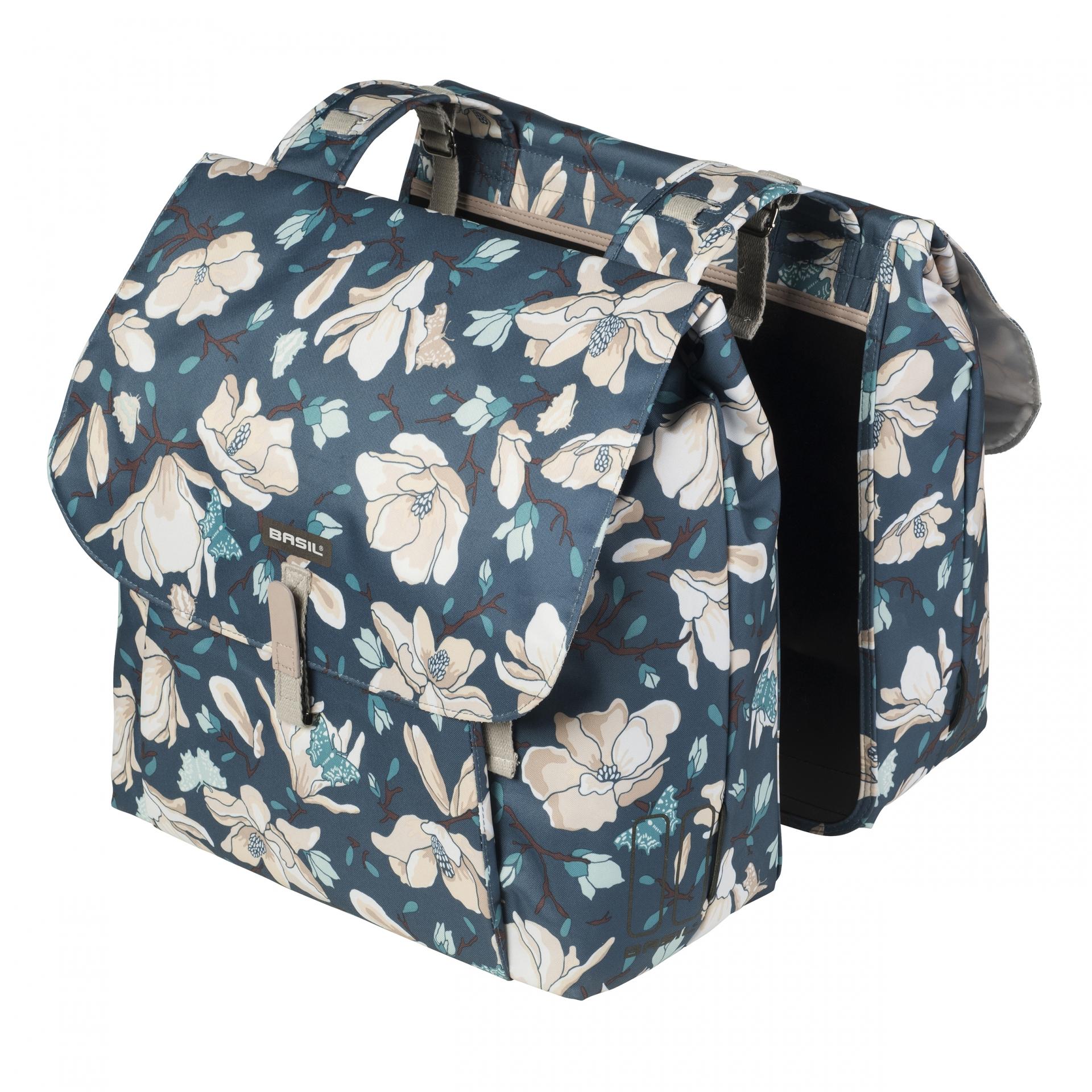 Sacoche arrière double BASIL Magnolia Imperméable Fixation crochet-ressort 35 L Teal Bleu