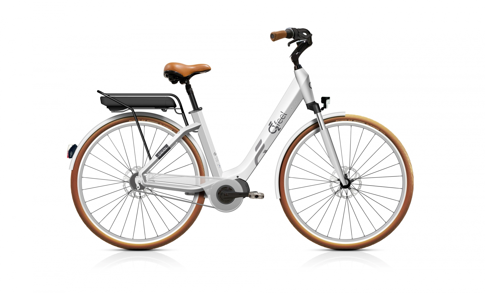 Vélo électrique O2Feel Swan Di Alfine 8 / 28 pouces Blanc