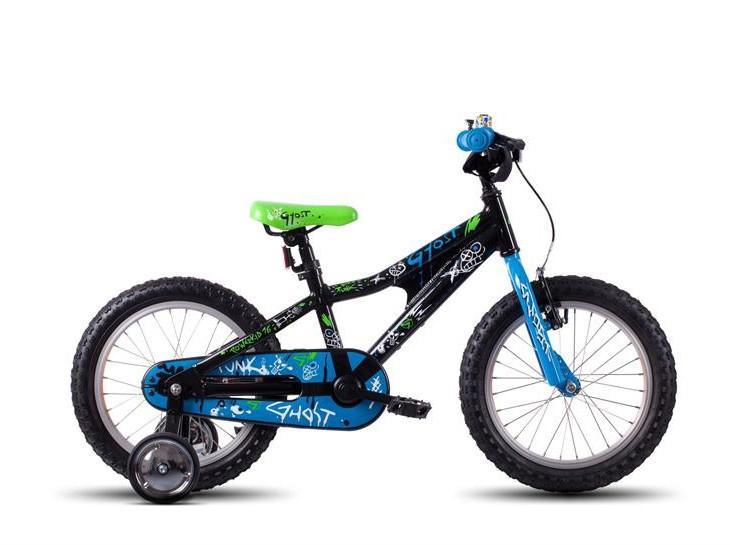 Vélo enfant Ghost Powerkid 16 noir/bleu/vert