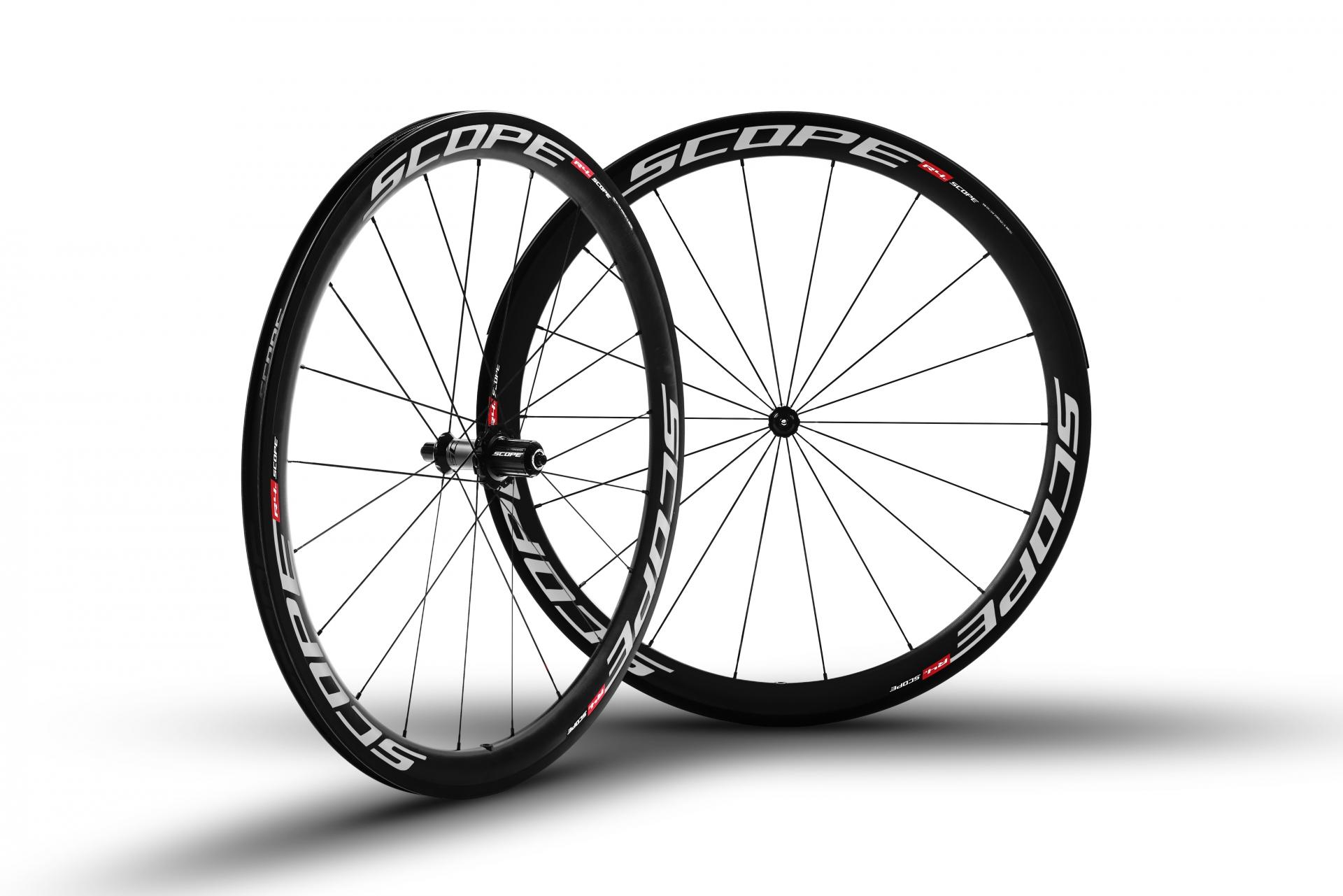 Roues carbone Scope R4c 45 mm pneu Shimano 11V Blanc