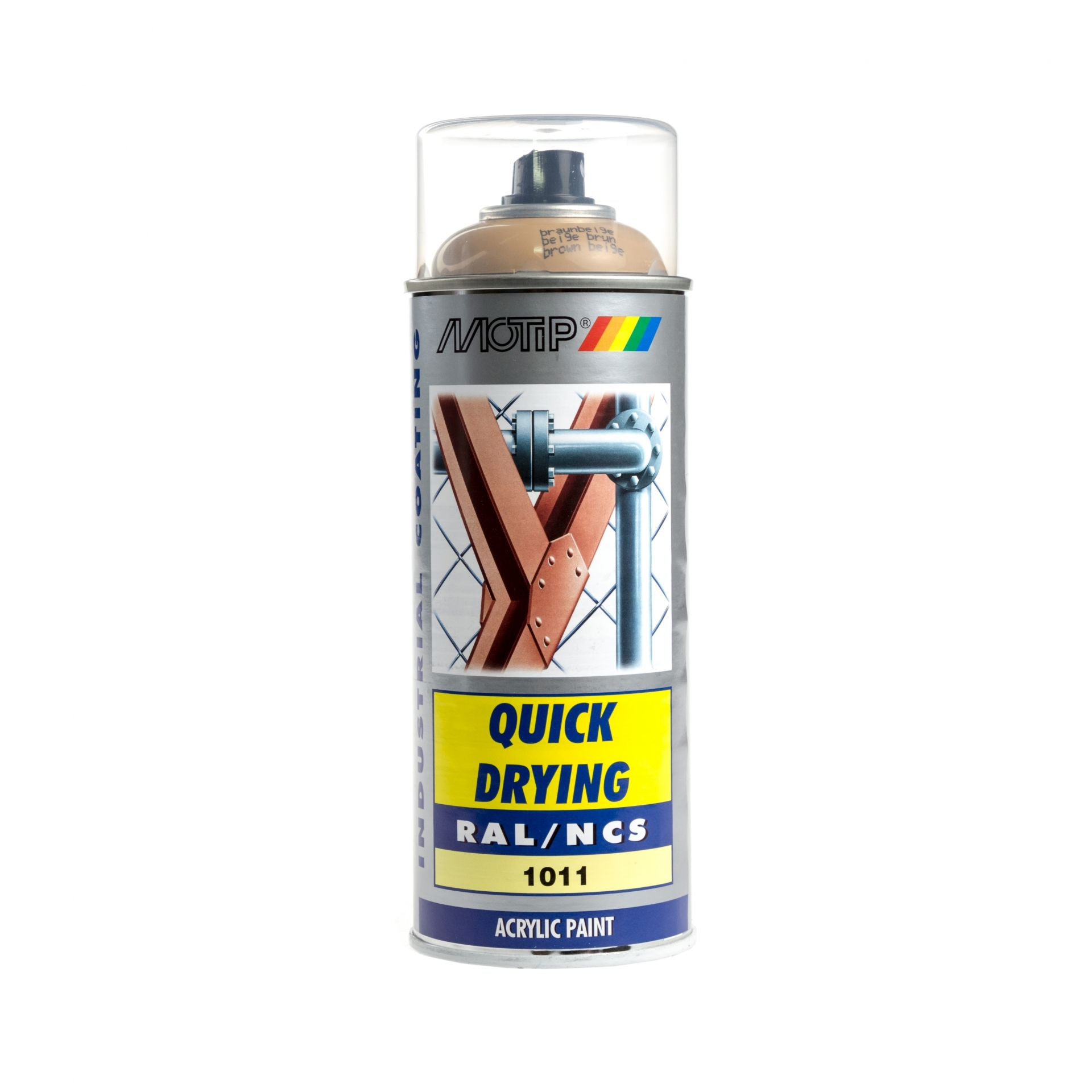 Bombe de peinture MoTip beige brun brillant acrylique RAL 1011 400 ml M07054