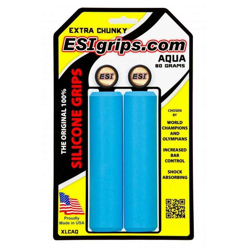 Poignées ESI Grips Extra Chunky silicone 34 mm Bleu Aqua