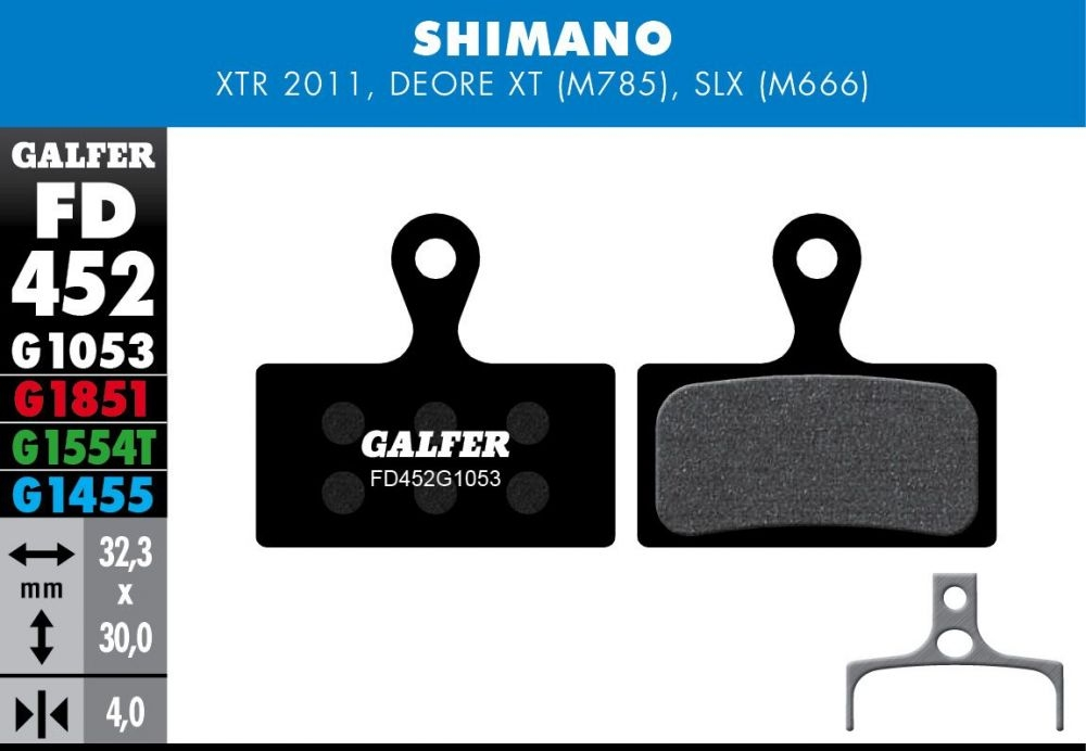 Plaquettes de frein Galfer Shimano XTR / XT / SLX Semi-métallique Pro Vert